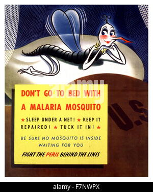 World War Two US propaganda poster 'Don't go to Bed with a Malaria Mosquito' 1943 - Stock Photo