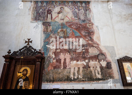 old frescoes in Church of the Assumption - part of Medieval Ananuri Castle over Aragvi River in Georgia - Stock Photo