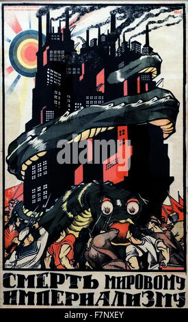 Russian, Soviet, Communist propaganda poster 'Death to world imperialism ' produced by Dimitri Orloff (Moor), 1919 - Stock Photo