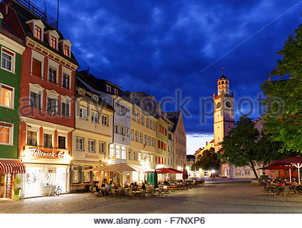 Germany, Baden-Wuerttemberg, Ravensburg, Marienplatz with Blaserturm in the old town - Stock Photo