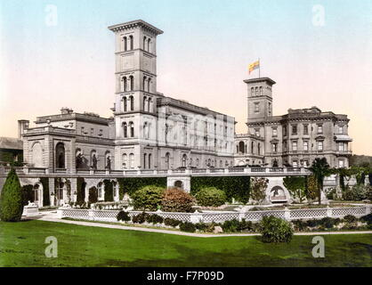 Osborne House, Isle of Wight, England 1890. Osborne House is a former royal residence in East Cowes, Isle of Wight, - Stock Photo