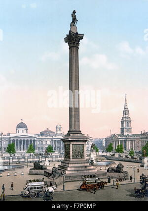 Trafalgar Square and National Gallery, London, England - Stock Photo