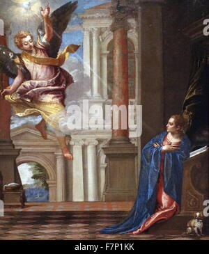 Painting titled 'Annunciation' by Paolo Veronese (1528-1588) Italian Renaissance painter, best known for large history - Stock Photo