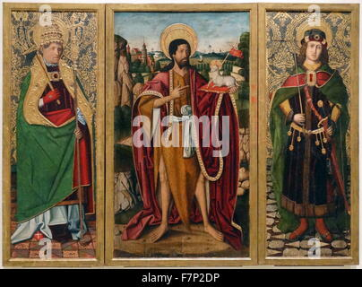 A triptych depicting St. John the Baptist , St. Fabian and St. Sebastian by Workshop of Miguel Ximénez (1462-1505). - Stock Photo