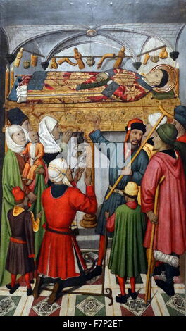Table altar of Saint Vincent depicting the Posthumous Miracles of St Vincent. By Jaume Huguet (1412-1492) Catalan - Stock Photo