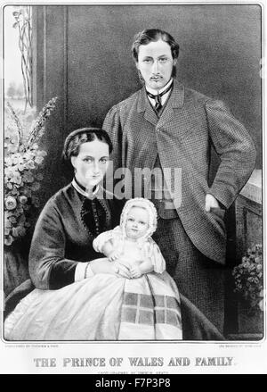 portrait of (King Edward VII) as Prince of Wales (1841-1910) with family. Dated 1870 - Stock Photo