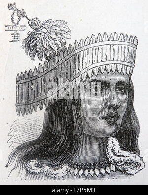 19th century illustration of a Tipo native from California USA 1850 - Stock Photo
