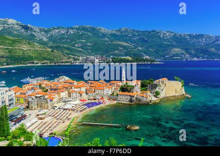 Budva, Montenegro. Panoramic view of the old town. - Stock Photo