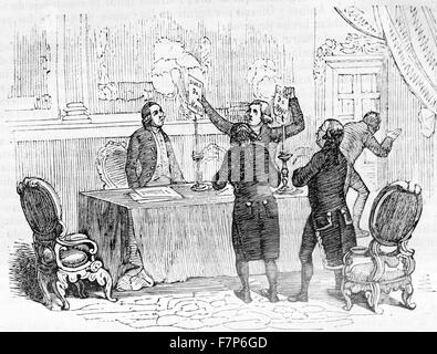 Engraving depicting French generals burning decrees during the Peninsular War (1807–1814) was a military conflict - Stock Photo