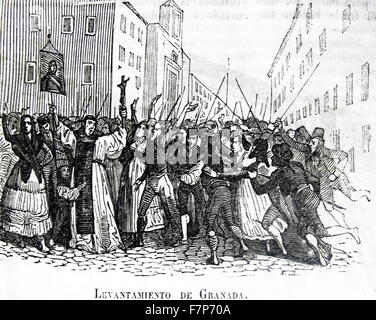 Engraving depicting the Rise of Granada during the Peninsular War (1807–1814) was a military conflict between Napoleon's - Stock Photo