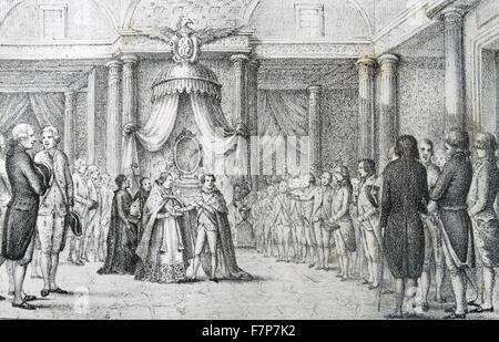 Illustration depicting King Joseph Napoleon swearing on the Constitution of Bayonne. King Joseph-Napoléon Bonaparte - Stock Photo