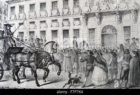 Illustration depicting the entrance of French soldiers into Madrid during the Peninsular War (1807–1814) was a military - Stock Photo