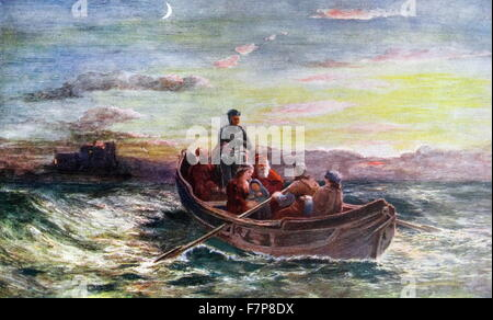 The escape of Mary, Queen of Scots. From Loch Leven Castle - Stock Photo