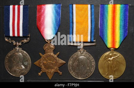 British army war medals, World war One, Military Medal; 1914-15 Star; British War Medal; Allied Victory Medal - Stock Photo