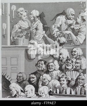 The Laughing Audience, Engraving by William Hogarth;18th century - Stock Photo