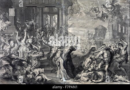 Print showing the massacre of the innocents ordered by Herod, from a 17th century perspective by Peter Paul Rubens. - Stock Photo