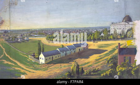 View of Washington, D.C., looking northwest from southeast of the U.S. Capitol by Augustus Kollner (1813-1906). - Stock Photo