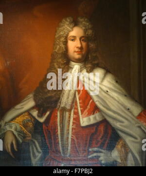 Portrait of Henry Bowes Howard, 11th Earl of Suffolk and 4th Earl of Berkshire (1686-1757) Supporter of James II. - Stock Photo