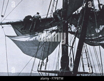 In the rigging'. In: 'The South Pole', by Roald Amundsen, 1872-1928 - Stock Photo