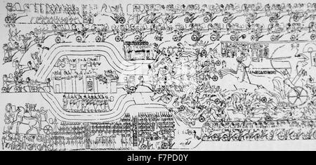 The Battle of Kadesh (Qadesh) between the Egyptian Empire under Ramesses II and the Hittite Empire under Muwatalli - Stock Photo