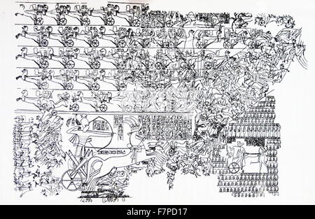 End of 5th century AD. The Battle of Kadesh (Qadesh) between the Egyptian Empire under Ramesses II and the Hittite - Stock Photo