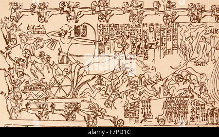 End of 5th century AD. Deatail from a freize showing the Battle of Kadesh (Qadesh) between the Egyptian Empire under - Stock Photo