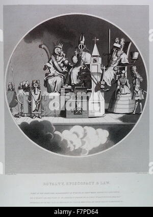 Royalty, Episcopacy and Law, Engraving by William Hogarth;18th century - Stock Photo