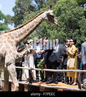 Harare, Zimbabwe. 2nd Dec, 2015. Chinese President Xi Jinping and his wife Peng Liyuan visit a wildlife sanctuary - Stock Photo