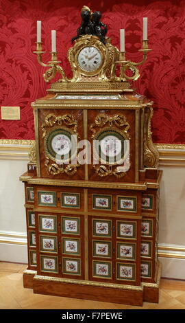18th Century filing-cabinet and clock attributed to Jean-Francois Leleu, the clock case designed by Jean-Claude - Stock Photo