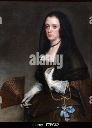 Painting titled 'The Lady with a Fan' by Diego Velázquez (1599-1660) a Spanish painter and leading artist for the - Stock Photo