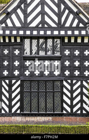 Detail of the South Front of Speke Hall, Liverpool. - Stock Photo