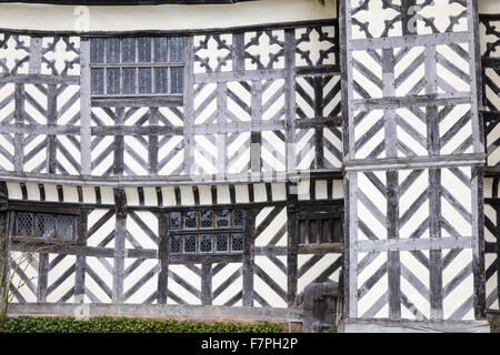 Detail of the South Range at Little Moreton Hall, Cheshire. - Stock Photo