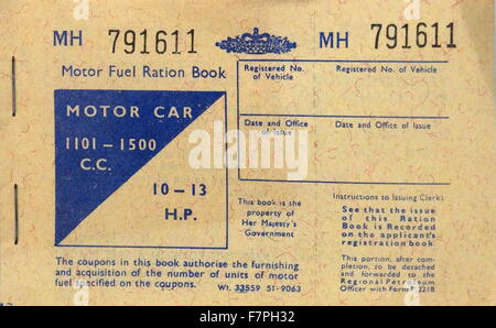 Motor fuel ration book from the Second World War. Dated 1942 - Stock Photo