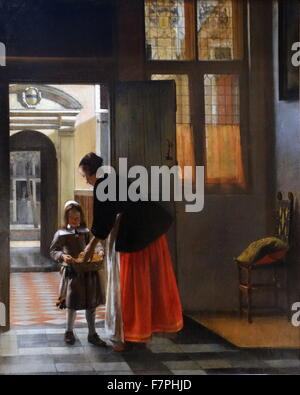 Painting titled 'A Woman Peeling Apples' by Pieter de Hooch (1629-1683) Dutch Golden Age painter famous. Dated 17th - Stock Photo