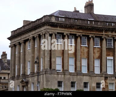 The Royal Crescent. A row of Georgian terraced houses in the city of Bath, England. Designed by the architect John - Stock Photo