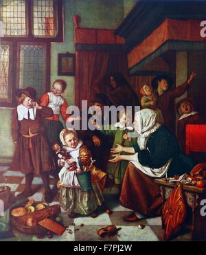 Painting titled 'The Eve of Saint Nicholas' by Jan Havickszoon Steen (1626-1679) Dutch genre painter of the 17th - Stock Photo