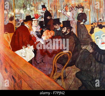 Painting titled 'At the Moulin Rouge' by Henri de Toulouse-Lautrec (1864-1901) French painter, printmaker, draughtsman - Stock Photo