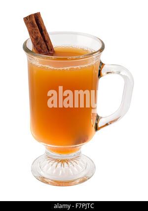 Apple Cider and Cinnamon Stick in a Glass Mug - Stock Photo