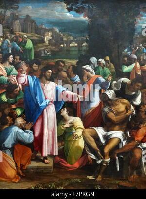 Painting titled 'The Raising of Lazarus' by Sebastiano del Piombo (1485-1547) Italian painter of the High Renaissance - Stock Photo