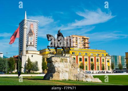 Sheshi Skenderbej,Skanderbeg square, main square, Tirana, Albania - Stock Photo