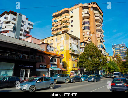 Rruga Abdyl Frasheri street, Blloku district, Tirana, Albania - Stock Photo