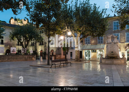 Square with fountain, Cassis ,  Côte d Azur France, - Stock Photo
