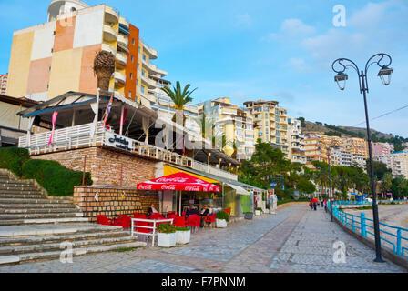 Sheshi Limanit, Esplanade, seaside promenade, central Saranda, Albania - Stock Photo