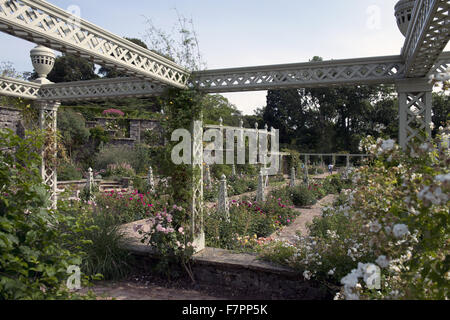 The Lower Rose Terrace in July at Bodnant Garden, Clwyd, Wales. Created by five generations of one family, Bodnant - Stock Photo
