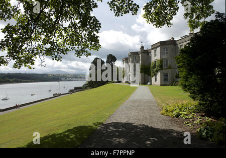 An exterior view at Plas Newydd Country House and Gardens, Anglesey, Wales. This fine 18th century mansion sits - Stock Photo