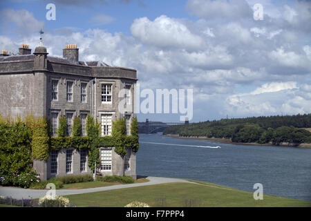 Plas Newydd Country House and Gardens, Anglesey, Wales. This fine 18th century mansion sits on the shores of the - Stock Photo