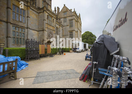 Filming for the 2015 BBC adaptation of Hilary Mantel's 'Wolf Hall' at Montacute House, Somerset. Montacute is an - Stock Photo