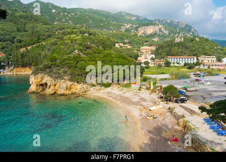 Agios Petros beach, Palaiokastritsa, Paleokastritsa, western Corfu, Kerkyra, Ionian islands, Greece - Stock Photo