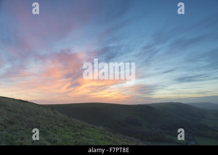 Devil's Dyke at sunset, South Downs, West Sussex. - Stock Photo