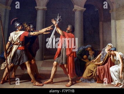 Oath of the Horatii' by Jacques-Louis David (otherwise known as Le Serment des Horaces), 1784. A huge success with - Stock Photo